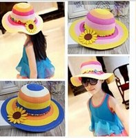 Wholesale 2015 spring and summer straw hat Children prevented bask sun hat beach outing protection cap