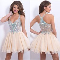 Wholesale 2015 cheap new arrival sexy halter cocktail party dresses sparkly sequins beaded crystals backless short prom homecoming gown dresses cps168