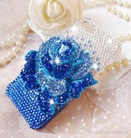 Cheap Handmade Bling Rhinestone 3D Blue Rose Phone Protect Back Cover Cellphone Case For iPhone 4 4s 5 5s 6 6 Plus Samsung i9500 i9300 Note 2 3 4
