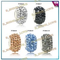 Wholesale Assorted AB Clay Pave CZ Crystal Balls Fashion Jewelry Findings Fit European Bracelet Mix Option PSMAmix2