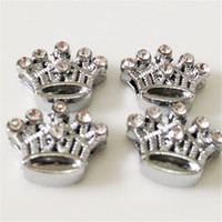 Wholesale Hot MM Crown DIY Slide Charms with Rhinestones Silvery DIY Components Fit for MM Wristbands Bracelets Belts SC09