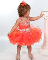 girls knee length pageant dresses - 2015 Cute Baby Toddler Infant Girls Pageant Dresses Ball Gown Orange Organza Beads Halter Knee Length Cheap Flower Girl Dresses for Weddings
