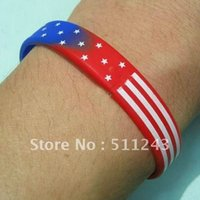 Wholesale USA National Flag Stars Stripes Silicone Rubber Bangle Elastic Belt Bracelet