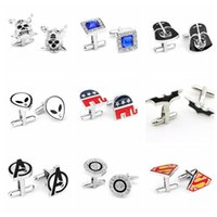 Wholesale 2000PAIR LJJH894 Fashion Style Cufflink Superman Star Wars Batman spiderman Cufflinks Fathers Day Gifts For Mens Jewelry Cuff Links