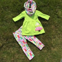 stripe pants - christmas Girl kids clothing fall clothes hot baby tree green stripe pant set with geometric scarf girls stripe dress pant