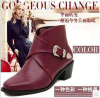 cowboy boots for women - 2014 New Women motorcycle Boots Pointed Toe Platforms Buckle Nubuck Leather Ankle Ladies Boot For Winter Size