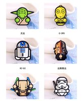 Wholesale Star Wars Pins Brooches Collar Breastpin Prevalent Jewelry Darth Vader Stormtroopers Yoda kids Cartoon badge safety pin R2 D2 school supplie