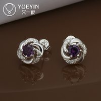 Wholesale 10PCS High grade copper plating of silver Rotary everlasting love purple gemstone jewelry fashion accessories E436 new features
