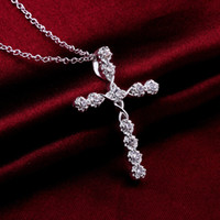 Wholesale Cross Styles necklaces Romantic Pure silver N668 gift Pouches Free Fashion New Jewelry Brincos de Prata