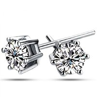 Wholesale stud earrings sterling silver Luxury Crystal Zircon Stud Earrings women Elegant noble earrings jewelry D1049
