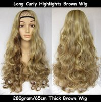 Wholesale Women Fashion Wig Long Curly Mixed Brown Wig Brown Hair Wigs Anime Hair Cosplay Costume Party Full Wigs H10