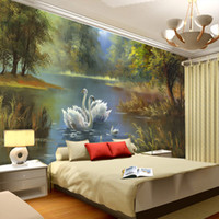 Wholesale Elegant Swan lake Wallpaper D Photo wallpaper Custom Wall Murals Oil painting Art Interior Design kid Bedroom Coffee shop Office Room decor