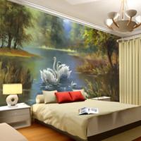 art interiors - Elegant Swan lake Wallpaper D Photo wallpaper Custom Wall Murals Oil painting Art Interior Design kid Bedroom Coffee shop Office Room decor