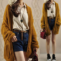 Cheap New Arrival 2015 Womens Oversized Knitted Turn Down Collar Sweater Batwing Sleeve Tops Cardigan Outwear Free Size Hot Sale