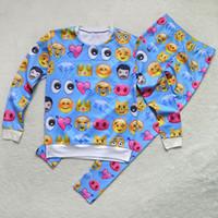 Emojis roupas Preços-w1213 Hot engraçado rede suor expressão de impressão ternos desenhos animados emoji camisola de impressão definido para mulheres / homens de duas peças equipamento de treino