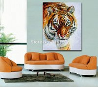 One Panel bedroom color palettes - 100 Hand painted Tiger and Leopard Oil Painting Wild Animal Canvas Wall Painting Unframed Color Palette Art Living Room Bedroom Decorations