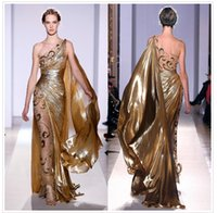 Cheap 2015 Hot Selling Zuhair Murad Haute Couture Appliques Pleated Organza Gold Formal Evening Dresses Sheer Vintage Pageant Prom Gowns 9390