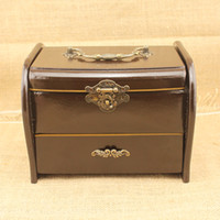 wooden jewelry box - Decorative Chinese Pine Wood Jewelry Box Vintage Luggage Wooden Storage Box for Jewelry as Gift for Women Jewellery Wood Box Storage