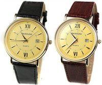 accurate mens watches - Fashion Roman Nail Watch Calendar Gold Big Dial Mens Watches Brown Leather Strap Accurate Time Quartz Watch