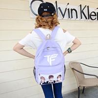 Wholesale TFboys family Wangjun Kai Wang Yuan bags schoolbags backpack book bag free postage Clover men and women