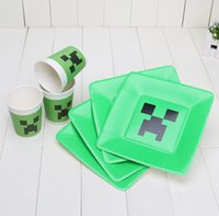 minecraft - 100pcs Minecraft Plates Cups Christmas Party Decoration Tableware Creeper Paper Cup plate