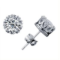 crystal - Crystal Silver Crown Wedding Stud Earring Engagement Jewelry
