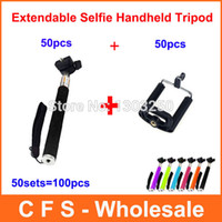 Cheap 2 in 1 Extendable Self Selfie Stick Handheld Monopod + Clip Holder For iPhone Samsung Gopro 100pcs Express Free shipping