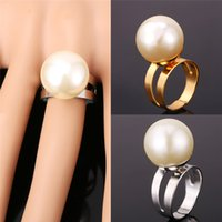 big jewellery box - New White Pearl Cool Rings For Women With Gift Box K Yellow Gold Plated MM Big Size Adjustable Jewelry Jewellery YR1215