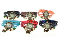 beaded watch straps - 6 colors Female Leather braided rope bracelet type watch retro fashion Butterfly beaded watch long Strap Ladies Watch Factory direct sales