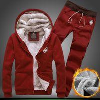 Men Cardigan Yes Free ! new autumn winter plus velvet warm hoodie sweat pants sport suit (coat+pants) male and female models fashion solid color 1084