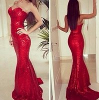 Wholesale New Arrival Mermaid Jessica Rabbit dress Sweetheart Neckline Red Fully Sequined Prom Dresses Floor Length Party gowns