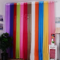 Wholesale 2015 Best Selling Solid Colors x100cm Ready Made Sheer Curtain Living Room Window Curtains Modern Home Decoration