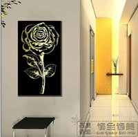 Cheap Golden Rose Modern decorative painting frame painting murals living room sofa background painting Pure hand-painted