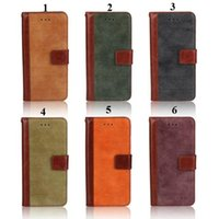 Wholesale For iPhone Plus S S galaxy s5 note Vintage Retro matte stitching Flip stand Wallet Leather Case With Credit Card Holder cover