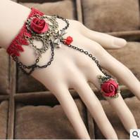 Wholesale Elegant DIY Lolita Lace Rose Bracelet Ring Bridal Jewelry Women Bracelets Bige Girls Vintage Lace Party Bracelet S028