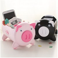 Wholesale HOT Creative receive boxes plastic boxes lovely pig model To receive goods Black and pink