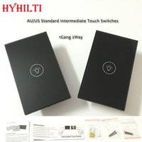 Wholesale AU US Type Intermediate Touch Switches Gang Way Set AC110V V Black Crystal Glass Panel Double Control Switches