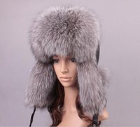 Wholesale women s genuine leather fox fur Trapper Hat with pom poms winter ear flaps bomber hats muticolors Russian Ushanka outdoor caps