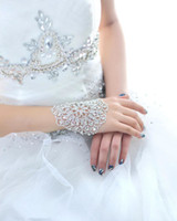 Wholesale Wedding Bridal party prom Jewelry Crystal Rhinestone bracelet with ring wristband Bracelet Bridal Jewellery Sets