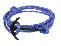 Acheter Infini mens bracelet-Anchor Infinity Wrap Rope Breloque Crochet avec corde nautique Paracord Bracelet Pour Hommes Et Femmes Miansai style