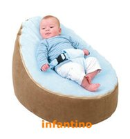 Wholesale BROWN with blue Strap Baby Seat Baby Bean Bag Chair Beanbag Cover Soft Snuggle Bean Bed