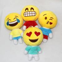al por mayor mierda amarilla-Los más nuevos 20cm Expresión encantadora QQ Emoji / mierda Poop Almohadas Smiley Cojines Almohadilla de dibujos animados amarillo Ronda Emoji Muñeca Peluche relleno de peluche