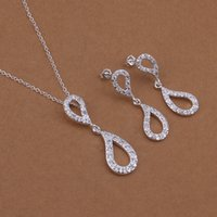 china direct - Factory direct high grade sterling silver Upper and lower insets droplets necklace earrings piece jewelry set DFMSS422 necklace earring