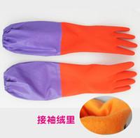 Wholesale Plus velvet Thicken Lengthen Warm Rubber gloves Latex gloves Kitchen Do the washing up Laundry gloves