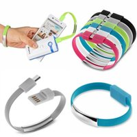 Wholesale New Portable Wrist Band Micro Charging USB Data Sync Cable Micro Magnetic USB cable Flat USB cable for Samsung for Android Phone Cable MQ100