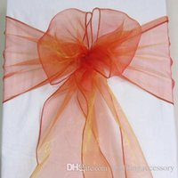 Wholesale 50 Burnt Orange Organza Crystal Chair Sashes Sample Fabric Roll wedding Sash Bow Gift Party Free NEW SASH
