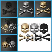 Wholesale NEW Car D Skeleton Skull Bone Emblem Badge Logo Auto Motor Metal Sticker Decal