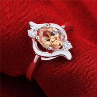 Wholesale New Luxury Water Drop Yellow Crystal Zircon Ring Prong Setting with Mirco CZ Stone Sterling Silver Ring Women