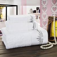 bath towels lot white - 10Pcs White Hotel Towel Sets Cotton Gram High Water absorbent Antibacterial Large Size Bath Towel Face Towel Hand Towel
