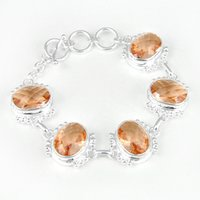 Wholesale Luckyshine Special Gift Jewelry Shine Fire Oval Morganite Gems Sterling Silver Plated Chain Bracelets Bangles Russia Bracelet Jewelry